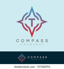 compass initial Letter T Logo design