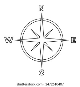 Compass line icon, logo isolated on white background