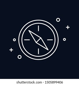 Compass line  icon on black background. Vector illustration.