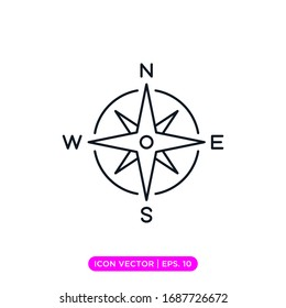 Compass line icon vector design
