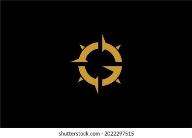 Compass logo design vector. Monogram G abstract sign symbol.
