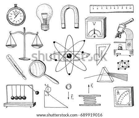 Compass Magnet Alpelmet Thermometer Microscope Engraved Stock Vector