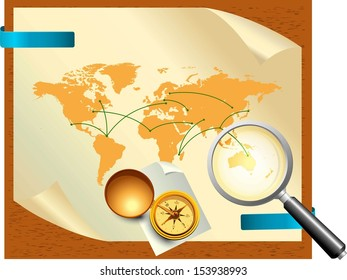 Compass and map of the world
