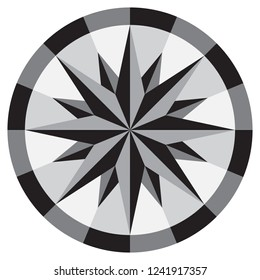 Compass masaic sign. Windrose pattern for background, wallpaper, textile print and tile.