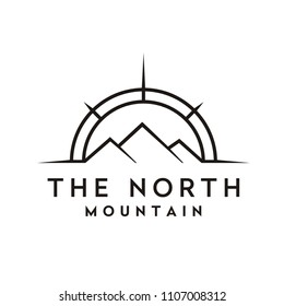 Compass and Mountain for Travel / Adventure logo design inspiration