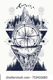 Compass, mountains and night forest boho style, t-shirt design. Adventure, travel, outdoors, symbol