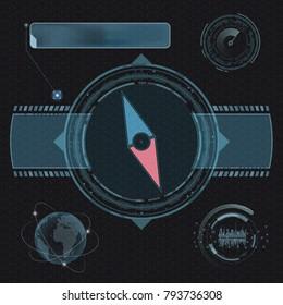Compass for navigation. Design of set HUD menu user interface. Futuristic technological dashboard. Stock vector illustration.