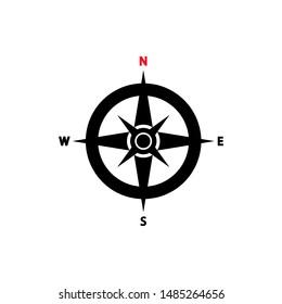 compass navigation icon trendy flat design