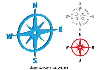 Compass Navigation in line art and solid artwork vector, North south east west