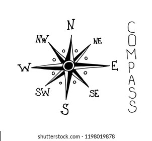 compass navigations rose icon on white background. hand drawn vector illustration