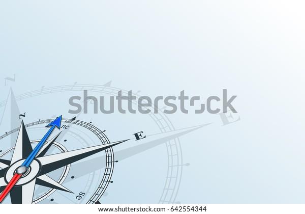Kompass Nordosten. Kompass mit Wind stieg auf blauem Hintergrund, der Pfeil zeigt in den Nordosten. Horizontale Illusion.
