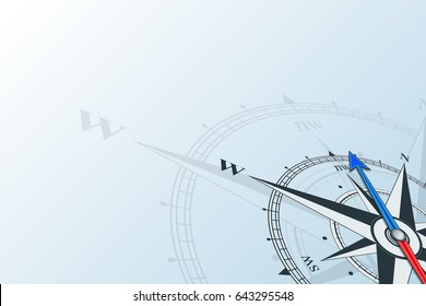 Compass northwest. Compass with wind rose on a blue background, the arrow points to the northwest. Horizontal illustartion. Travel concept.