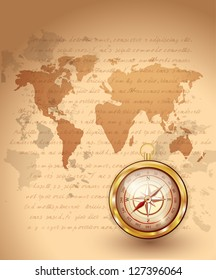 Compass and Old Travel Map