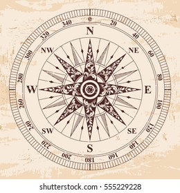 Compass old vector. Rose of Wind. Brown pattern on the beige background with the aging effect.