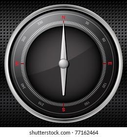 Compass on a black metallic background