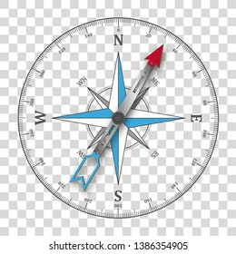 Compass on the checked background.  Eps 10 vector file.