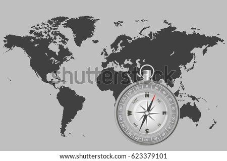 Map Of The World With Compass.Compass On Grey Map World Indicating Stock Vector Royalty Free
