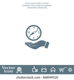 Compass on hand flat icon. Vector illustration EPS.