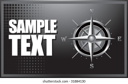 compass on silver banner