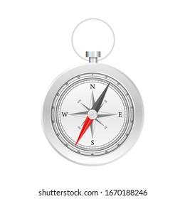Compass on white background. Flat vector navigation symbol. Vector stock illustration.