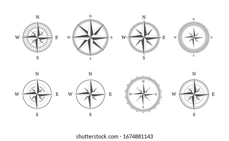 Compass on white background. Flat vector navigation symbol. Vector stock illustration.