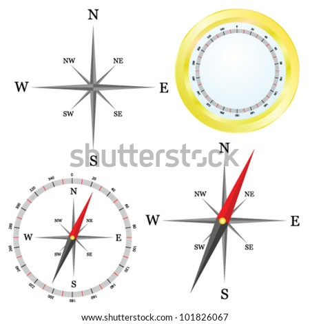 Compass Parts Vector Illustration On White Stock Vector Royalty