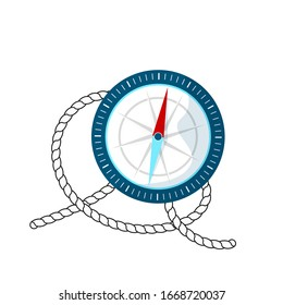 A compass and a piece of sea rope. Cartoon style. Vector image isolated on a white background.