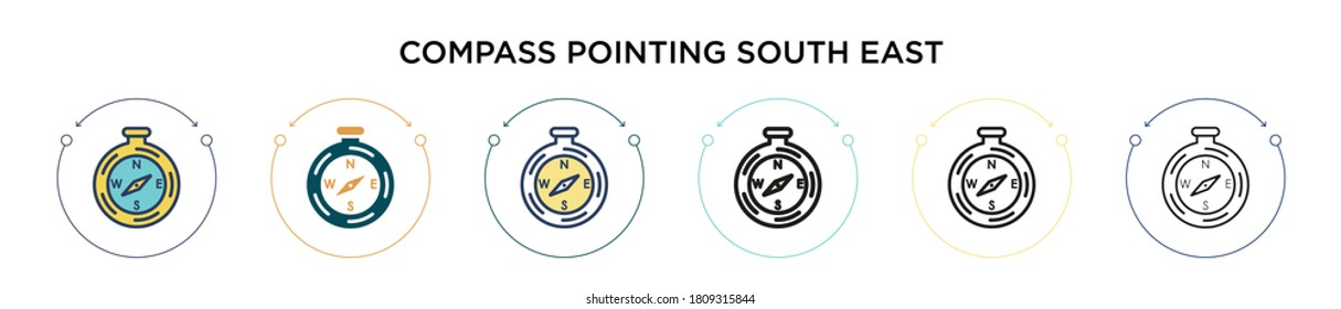 Compass pointing south east icon in filled, thin line, outline and stroke style. Vector illustration of two colored and black compass pointing south east vector icons designs can be used for mobile,