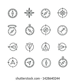 Compass related icons: thin vector icon set, black and white kit