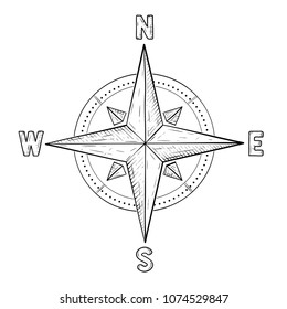 Compass rose with cardinal points. Hand drawn sketch. Vector illustration isolated on white background