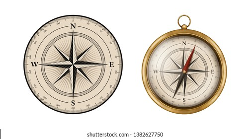 Compass rose design. Set includes vintage compass illustration. Isolated for all backgrounds.