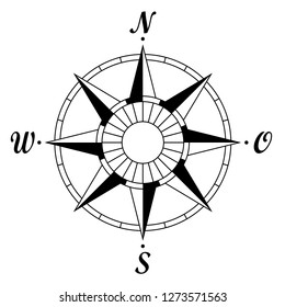 Compass rose with german east description. For marine or nautical navigation and also including in maps on a isolated white background as vector.