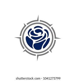 Compass Rose Global Globe Earth Adventure GPS naviagation logo design