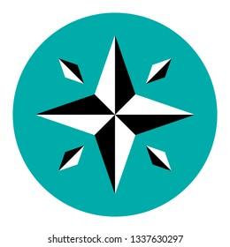 Compass rose icon illustration.
