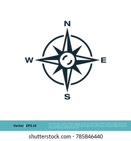 Compass Rose Icon Vector Logo Template
