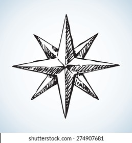 Compass rose Icon. Vector monochrome freehand ink drawn background sketchy in art scribble style pen on paper. View close-up with space for text