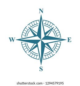 Compass Rose Icon Vector Template