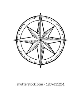 Compass rose isolated on white background. Vector black vintage engraving illustration. Hand drawn design element for poster yacht club.