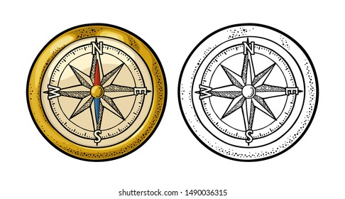 Compass rose isolated on white background. Vector color vintage engraving illustration. Hand drawn design element for poster yacht club.