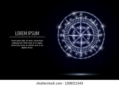 Compass rose low poly wireframe mesh made of points, lines and shapes. Vector polygonal art style design. Poster banner template with copy space.