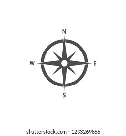 Compass, compass rose, magnetic compass navigation icon