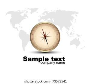 compass rose with a map. Vector