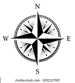 Compass rose for marine or nautical navigation and geographic maps on a isolated white background as vector with all related wind directions.