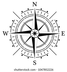 Compass rose for marine or nautical navigation and also for including in maps on a isolated white background as vector