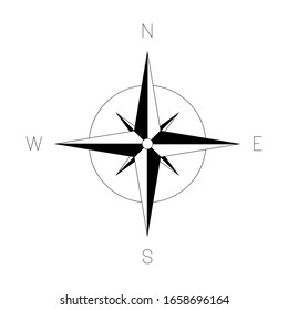 Compass rose - nautical chart. Travel equipment displaying orientation of world directions - north, east, south and west. Vector illustration.