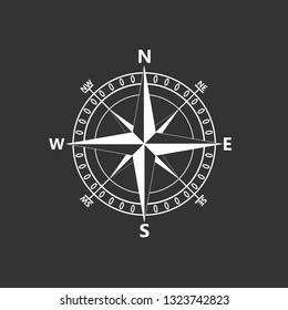 Compass rose, navigition icon. Vector illustration, flat design.