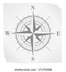 Compass rose over white paper sticker isolated on white. Vector EPS10.