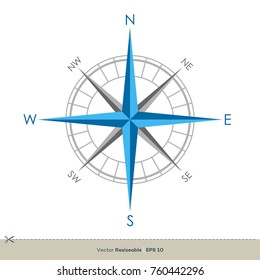 Compass Rose Vector Template Illustration Design. Vector EPS 10.