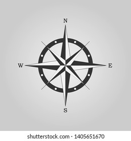 Compass rose, wind rose, navigation icon isolated on gray background. Vector illustration, flat design.