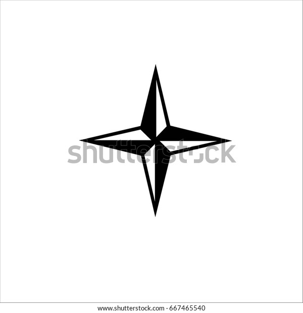 Compass Rose Winds Windrose Flat Icon Stock Vector (Royalty